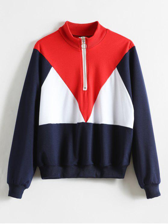 shops High Neck Zip Color Block Sweatshirt - MULTI S