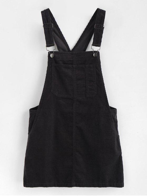 unique Mini Pinafore Dress - BLACK L