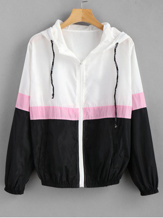 new Color Block Windbreaker Hooded Jacket - MULTI M