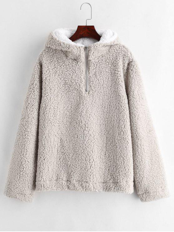 trendy Faux Fur Zipped Fluffy Hoodie - GRAY GOOSE M