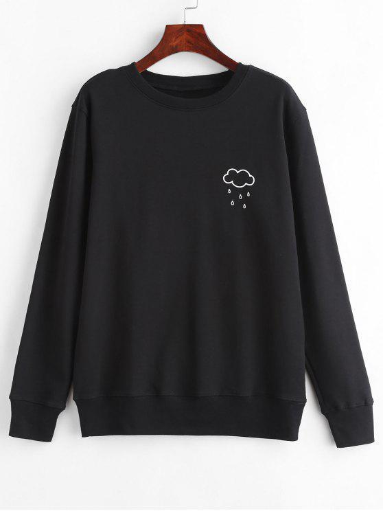 best Cloud Rain Print Graphic Pullover Sweatshirt - BLACK XL