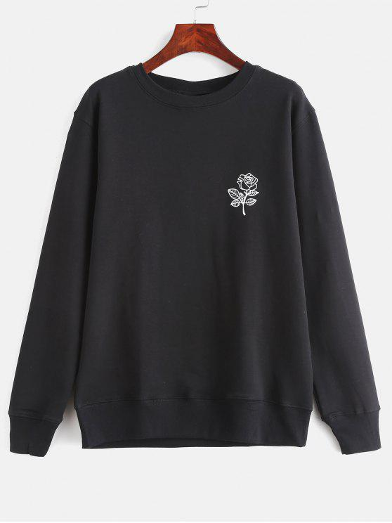 unique Floral Print Graphic Pullover Sweatshirt - BLACK XL