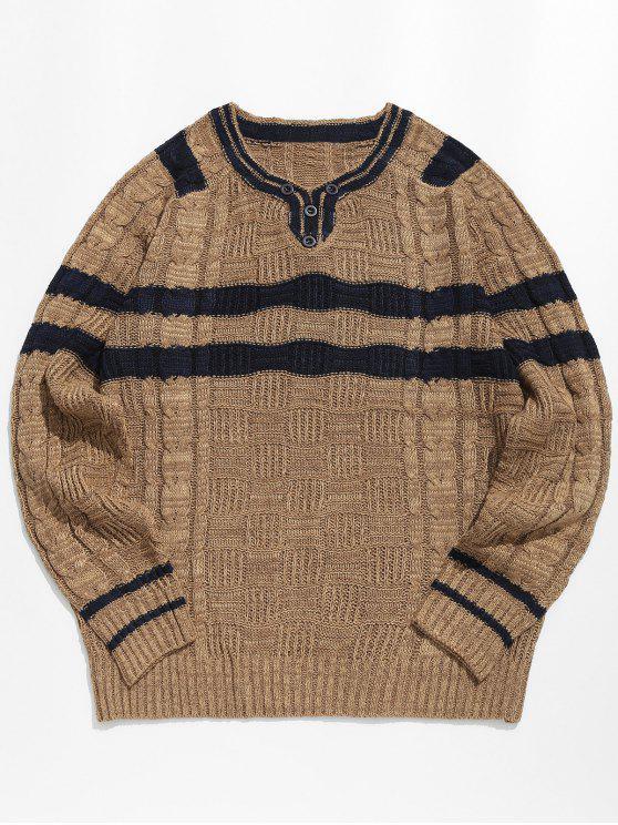 Maglione Pullover A Righe Con Maniche Lunghe - Khaki scuro XL