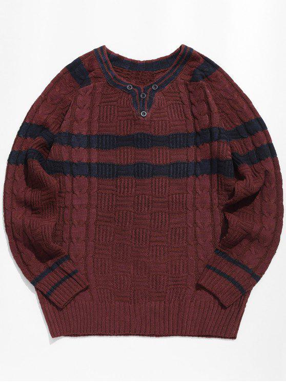 Maglione Pullover A Righe Con Maniche Lunghe - Rosso 2XL