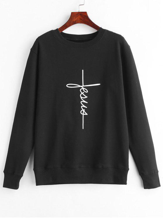 women Graphic Pullover Sweatshirt - BLACK XL