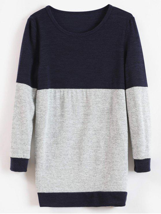 hot Knitted Tunic Two Tone Sweater - MIDNIGHT BLUE XL