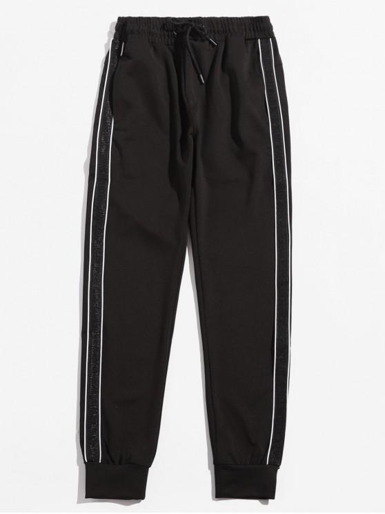Pantalon à Rayure Latérale Taille à Cordon - Noir L