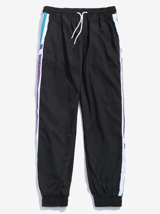 trendy Side Letter Stripe Contrast Jogger Pant - BLACK 2XL