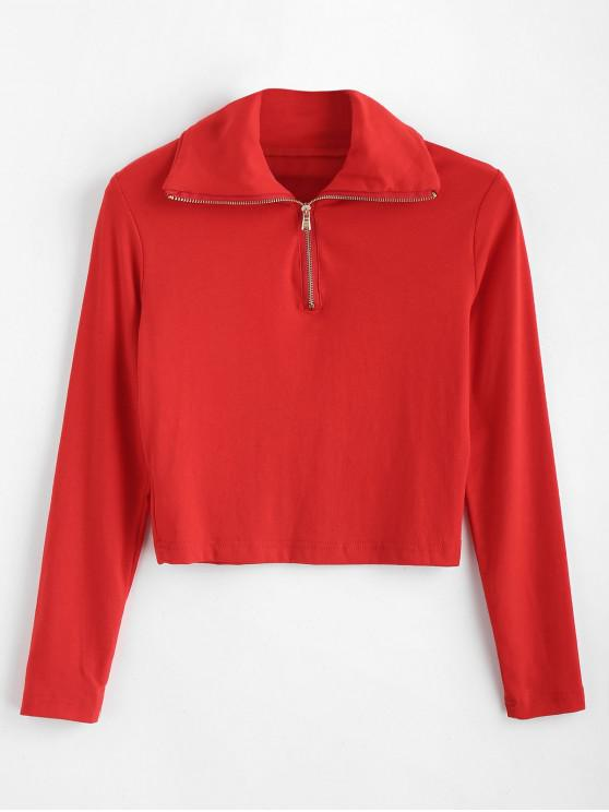 Camiseta Recortada Cuello Redondo y Cremallera - Rojo L