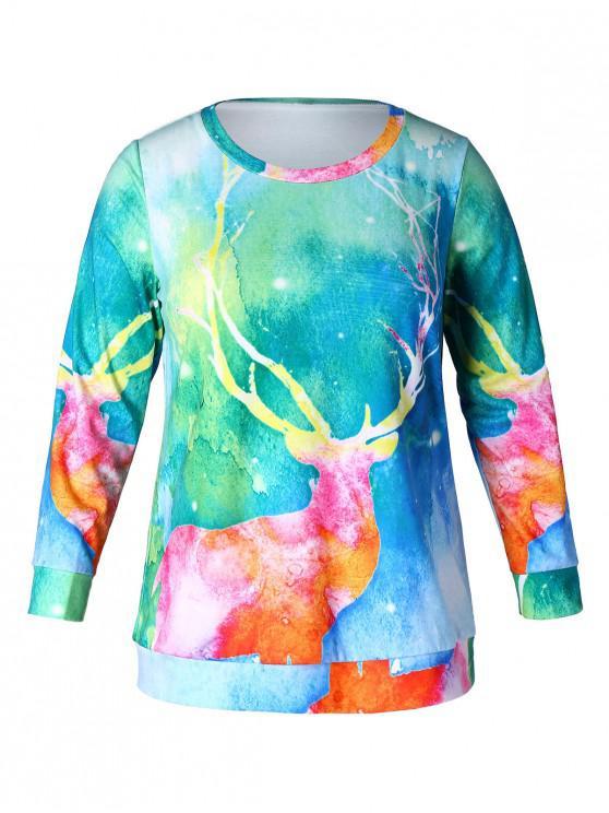 Christmas Plus Size Elk Print Sweatshirt - Multi 2X