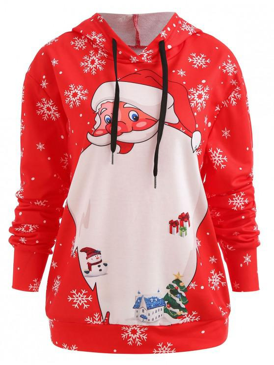 fancy Christmas Santa Drawstring Hoodie - RED L