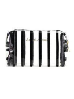 Cosmetic Striped Pattern Zipper Makeup Bag - Black