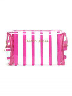 Cosmetic Striped Pattern Zipper Makeup Bag - Rose Red
