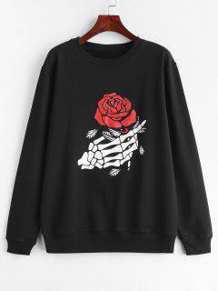 Skeleton Floral Print Pullover Graphic Sweatshirt - Black L
