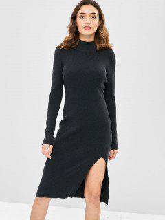 Mock Neck Slit Sweater Dress - Dark Slate Grey