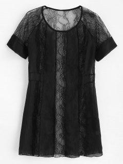 Lace Raglan Sleeve See Thru Lingerie Dress - Black M