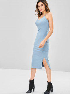 Slit Spaghetti Strap Dress - Baby Blue