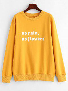 Text Print Pullover Graphic Sweatshirt - Mustard Xl