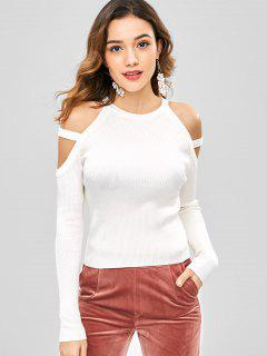 Cold Shoulder Ribbed Knit Top - White M