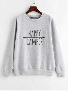 Pullover Contrasting  Graphic Sweatshirt - Light Gray 2xl