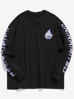 Flame Letter Print T-shirt - Black M