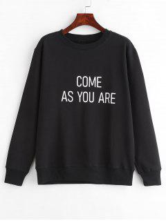 Contrasting Text Graphic Pullover Sweatshirt - Black L