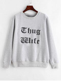 Contrasting Lettering Graphic Pullover Sweatshirt - Light Gray M