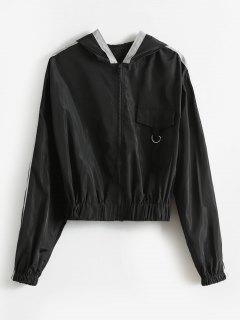 Front Pocket Hooded Zip Jacket - Black M