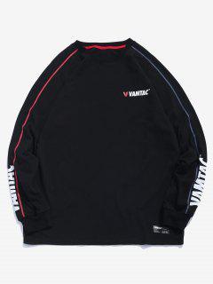 Stripe Trim Graphic Sweatshirt - Black M
