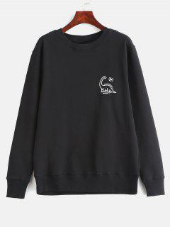 Animal Print Graphic Pullover Sweatshirt - Black S