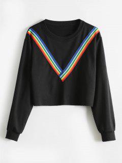 Raw Hem Rainbow Trim Sweatshirt - Black Xl