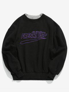 Chest Embroidered Letter Fleece Sweatshirt - Black L