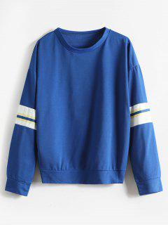 Contrast Loose Drop Shoulder Sweatshirt - Blue S