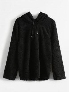 Pullover Fluffy Tunic Hoodie - Black M