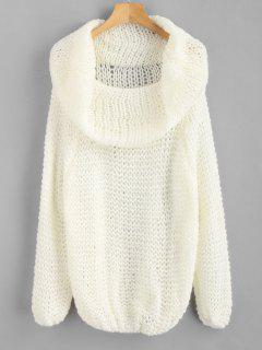 Raglan Sleeve Cowl Neck Plain Sweater - White
