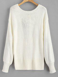 Open Back Knotted Sweater - White M