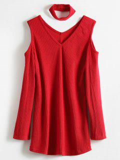 Cold Shoulder Choker Tunic Sweater - Red S