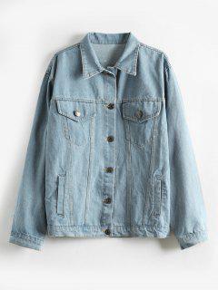 Single Breasted Denim Jacket - Denim Blue M