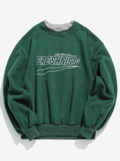 Chest Embroidered Letter Fleece Sweatshirt - Sea Green Xl
