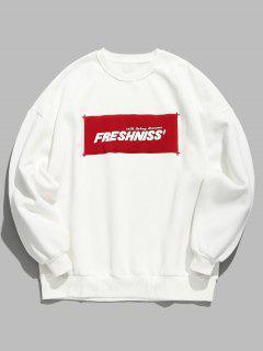 Chest Colorblock Letter Fleece Sweatshirt - White M