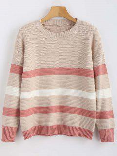 Drop Shoulder Tricolor Gestreifter Pullover - Multi