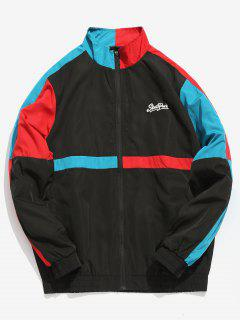 Color Block Patchwork Windbreaker Jacket - Black L