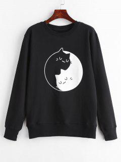 Kitten Print Graphic Sweatshirt - Black L