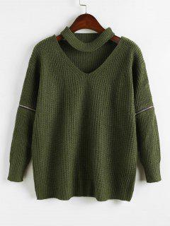 Zipper Embellished Plain Keyhole Sweater - Army Green