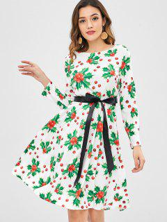 Christmas Berry Print Dress - White Xl