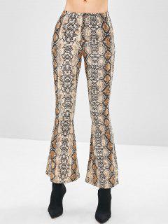 Snakeskin Flare Bottom Pants - Light Brown L