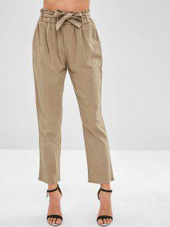 High Waisted Pencil Pants With Belt - Light Khaki M
