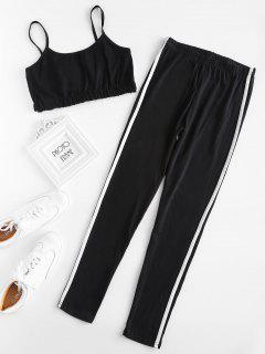 Stripe Trim Crop Cami Top Mit Leggings Set - Schwarz L