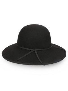 Oversized Brim Bowknot Wool Fedora Hat - Black