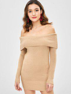 Off Shoulder Foldover Bodycon Dress - Camel Brown